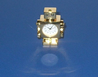 Small Gold Colored Robot Clock--with New Battery