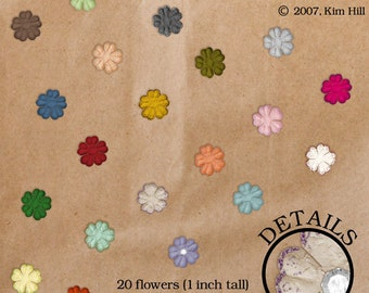 Tiny Paper Flowers Digital Scrapbook Elements - rainbow colored embellishment with glitter overlay and rhinestone for scrapbook layouts