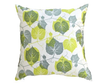 Green Leaves 18 by 18 inch Accent Pillow Cover with Zipper Enclosure