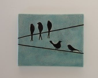 Birds on a wire wall hanging