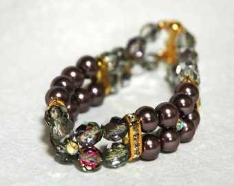 Handmade Beaded Bracelet with Czech Glass and Glass Pearls