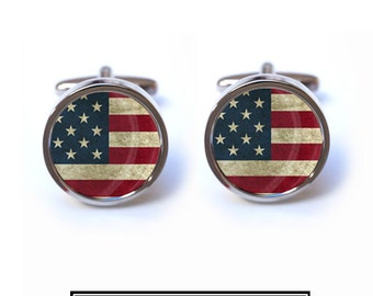 USA Flag Cufflinks - Vintage American Flag Cufflinks