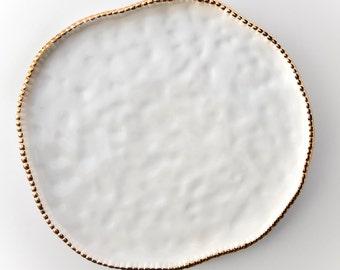 Large White Ceramic Serving Dish - Hostess Gift, Wedding Decor, Seder Plate, Matzah Plate, Serving Platter