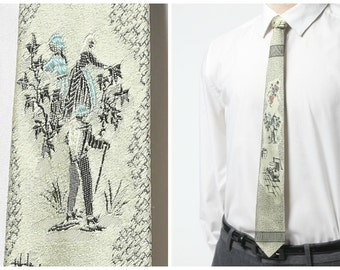 "Men's Vintage Skinny Tie - Cream Silk Necktie with ""Faux-riental"" Print by Rhodia"