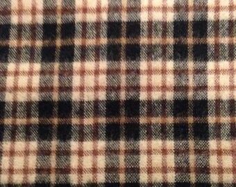 Black, red, ivory plaid flannel- by the yard- 100% cotton- Indo USA