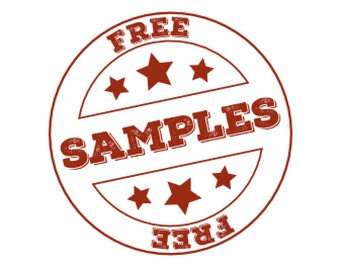 Free sample pack - only pay postage, includes fabric labels, stickers, heat transfers and hang tags