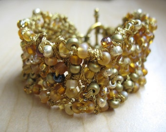 20% off! Shades of Gold Beaded Knit Cuff Bracelet