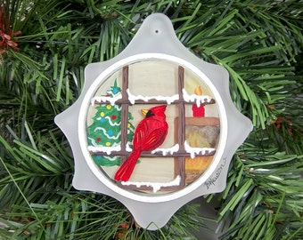 Cardinal Ornament, Cardinal in Window, Christmas Tree, Fireplace, Reverse Painting, Winter Evening
