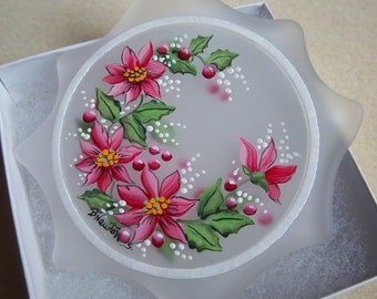 Poinsettia Ornament, Flat Glass, Sun-Catcher, Holly and Berries, Red and Pink, Frosted Glass, Christmas Keepsake, Festive