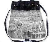 Horse Backpack, White Backpack, Horse Bag, Travel Backpack, Hippie Boho Bag, Draw String Bag, Black Bag, School Bag, Fashion Backpack