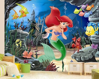 Peter pan mural neverland wall mural wallpaper wall d cor for Ariel wall mural