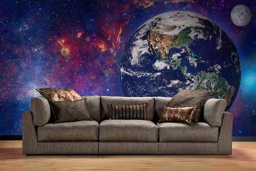 Earth in space wallpaper cosmos wall mural wallpaper wall for Earth rising wall mural