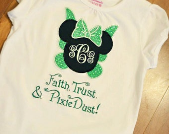 Monogrammed Faith Trust and Pixie Dust Personalized Shirt or Onesie Disney Tinkerbell