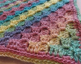 Crochet Spring Rainbow Baby Afghan Blanket