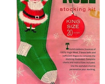 "pdf Noel Santa Christmas Stocking Knitting Vintage Pattern -Columbia Minerva Knit for Holiday ""KNIT ME EASY"" Style 20"""