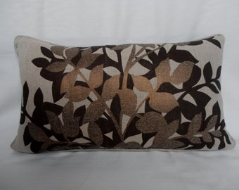 Pillow Cover – copper beige chocolate brown linen - metallic print pillow - copper linen lumber pillow - copper chocolate linen cushion