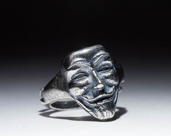 Anonymous Ring, Guy Fawkes, V for Vendetta, sterling silver, adjustable size, handmade
