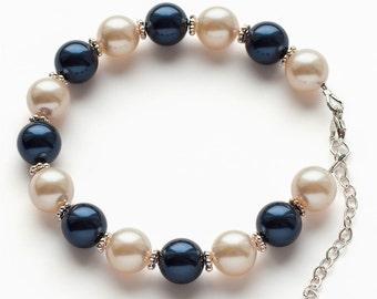 Swarovski pearl ivory-blue bracelet
