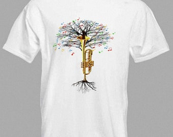 Trumpet T-shirt Musical Tree brass instrument in all sizes