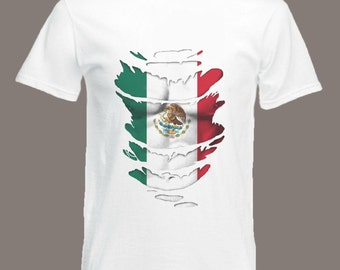 Mexican Flag T-Shirt See Muscles through Ripped T-Shirt Mexico in all sizes