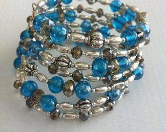 Blue Silver Bracelet, Turquoise Glass Bracelet, Turquoise Wire Wrap Bracelet, Silver Bracelet, Womens Bracelet, memory wire bracelet, wrap