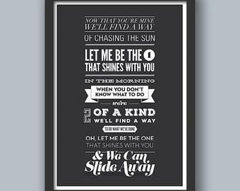 Slide Away Poster. Oasis. Music, Lyrics, Song, Quote, Type, Typography, Design.
