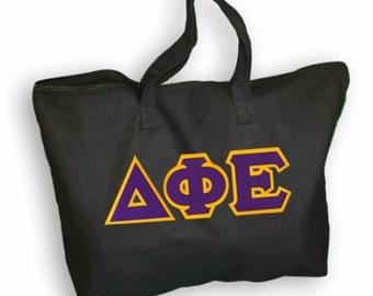 Delta Phi Epsilon Lettered Tote Bag
