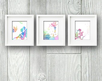 Set of 3 Watercolor Fairy PRINTABLE DOWNLOAD Wall Art Instant Digital Print Poster Garden Faries Butterflies Dragon Flies Flower Bubbles