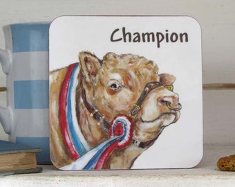 Bull Coaster,Champion Bull-Melamine Coaster-100mmx100mm-cork backed-stain and heat resistant - Bull Gifts - made in the UK---- code Coa03