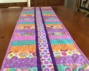 Modern, Quilted Table Runner in Vibrant Colors.