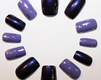 Purple Retro Stars False Nails