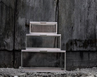 Set of 3 glass boxes | decorative handmade | for workspace and storage