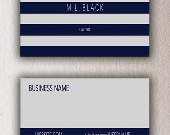 Navy & Grey-striped Business Card Template