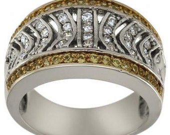 Art Deco Ring Diamonds And Yellow Sapphires In Vintage Filigree Ring 14K Gold