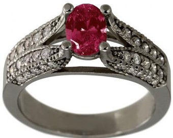 Ruby Ring Ruby Engagement Ring Oval Shaped Ruby Diamond Ring Pave Diamonds 14K