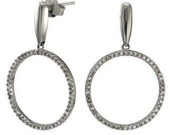 Circle Earrings Diamond Earrings Dangling Earrings Drop Earrings 14k White Gold