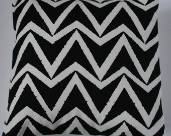 Zig Zag Chevron Black and Off- White Modern Design Home Decor Pillow Cushion Cover 16""