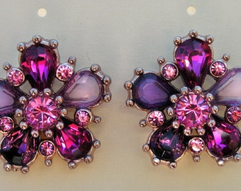 """1928 Jewelry  """"Floral Fantasy"""" Button Earrings"""