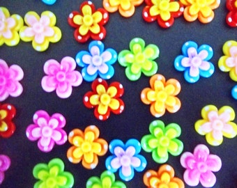 10 Double Dot Resin Flatback Flower Cabochons - Scrapbooking Embellishments DIY Crafts