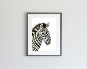 Hand Painted Watercolor Archival Giclée Print - Zebra