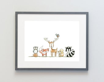 Hand Painted Watercolor Archival Giclée Print - Woodland Animal Painting