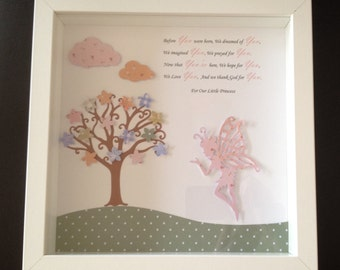 Baby girl fairy framed picture