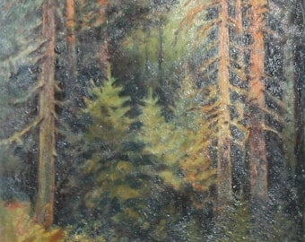 1953 oil pine trees painting landscape signed