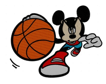 mickey mouse basketball embroidery design  2 sizes Instant Download