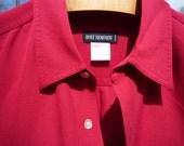HOLT RENFREW silk longsleeve ruby red medium