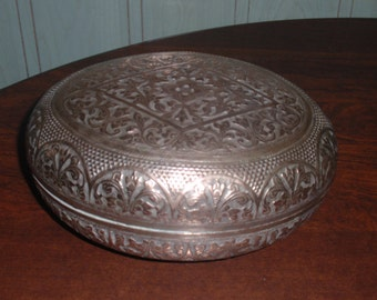 SilverPlated? Copper Embossed Oval Tobacco/ Trinket Box