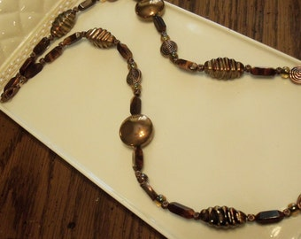 Copper colored beaded necklace