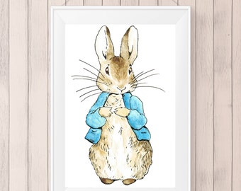 Peter Rabbit Digital Print, Nursery, Instant Download, Jpeg, PDF