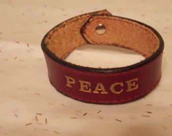 Peace leather bracelet