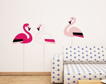 Pink flamingos wall sticker - flamingo birds wall decal